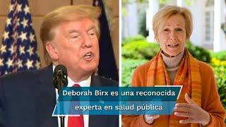 """La doctora Deborah Birx dijo que EU, que suma casi 155 mil muertes por Covid-19, está entrando en """"una nueva fase"""" de propagación viral; """"mordió el anzuelo y nos golpeó. ¡Patética!"""", tuiteó Trump"""