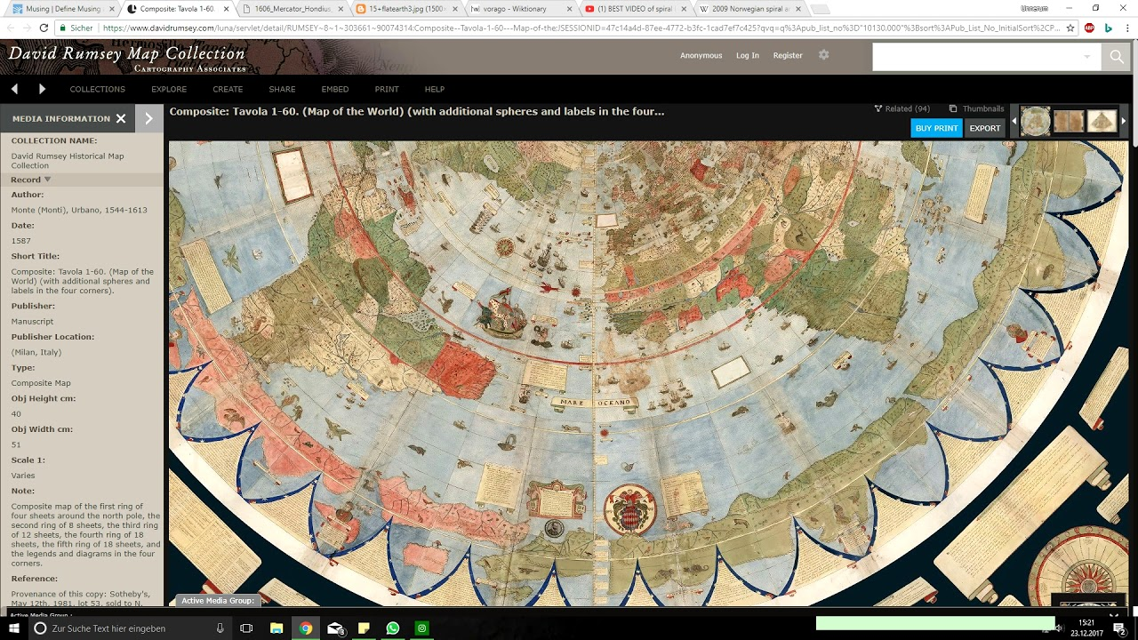 1587 World Map.Monte Urbano S Mighty Map Musing 1587 Geocentric Youtube