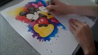 Minnie and Mickey Mouse Splash - Speed painting by Fiona-Clarke.com