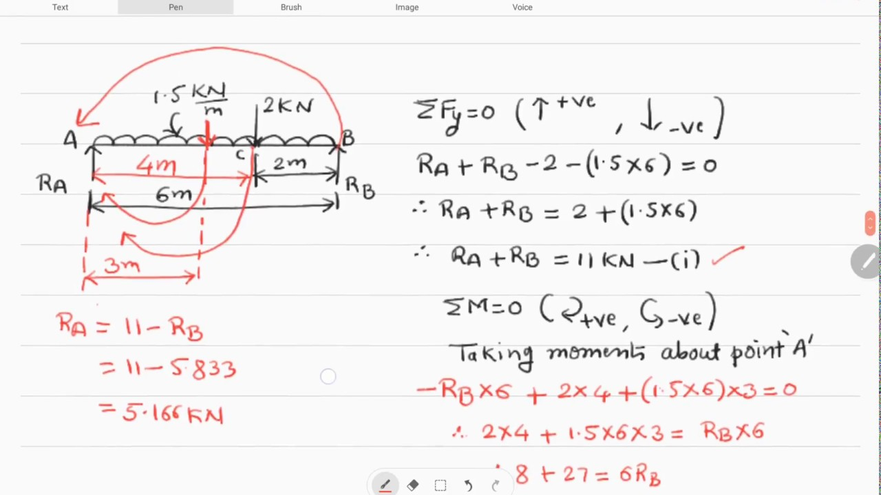 How To Find Beam Reactions Simply Supported Part 1 Youtube Moment Diagram Of Cantilever Carrying Udl Uniform Distributed Load