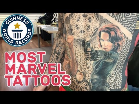 Most marvel comic book character tattoos – Guinness World Records