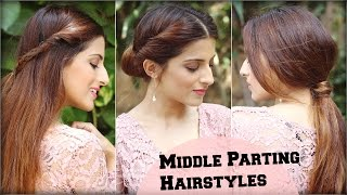 3 CUTE & EASY Everyday Middle Partition Hairstyles For School, College, Work/ Indian Hairstyles