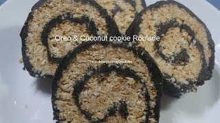 No Bake Oreo & Coconut cookie Roulade