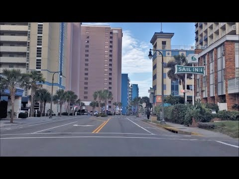 Driving Downtown Myrtle Beach South Carolina Usa