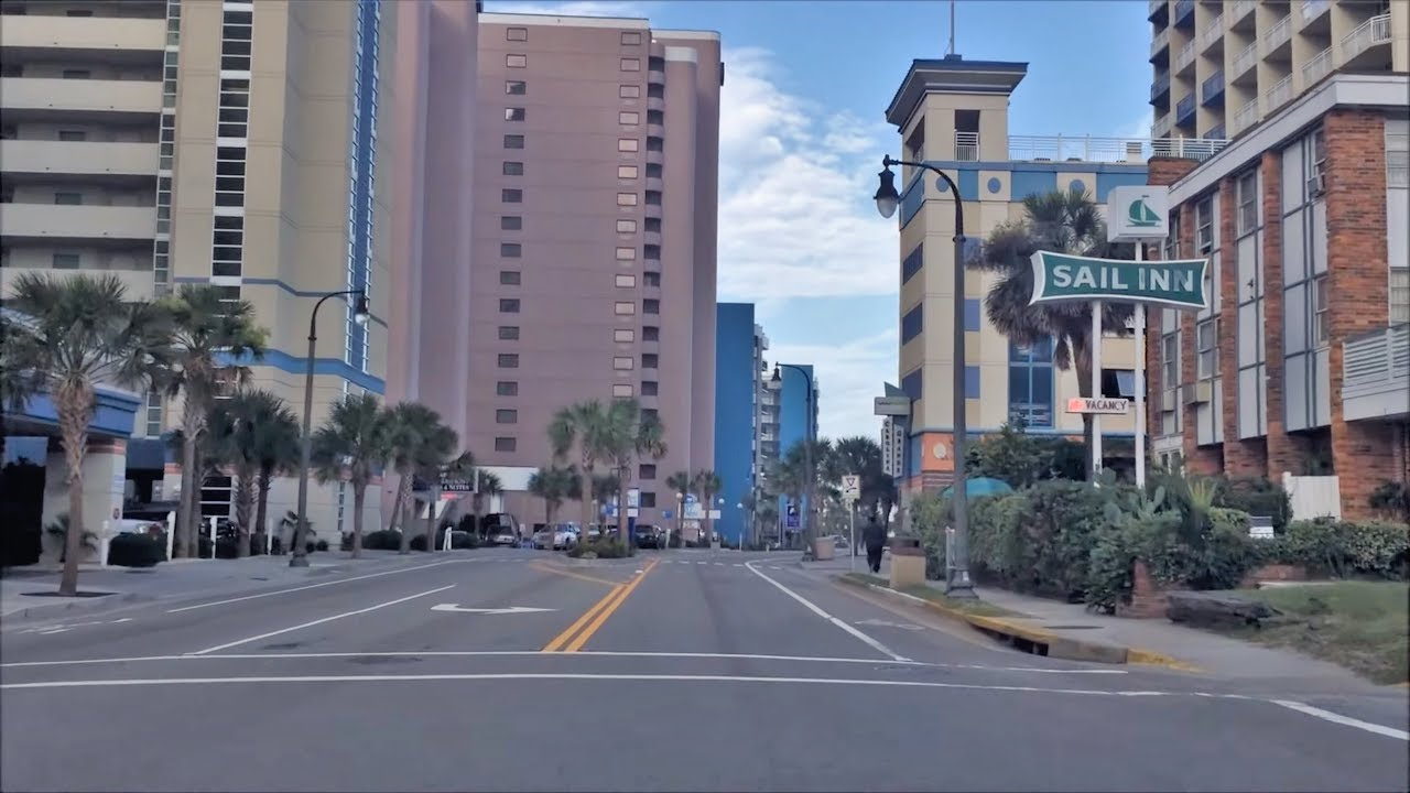 Driving Downtown Myrtle Beach Usa