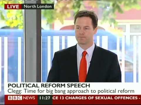 Nick Clegg on electoral reform 18 May 2010 (1 of 4)