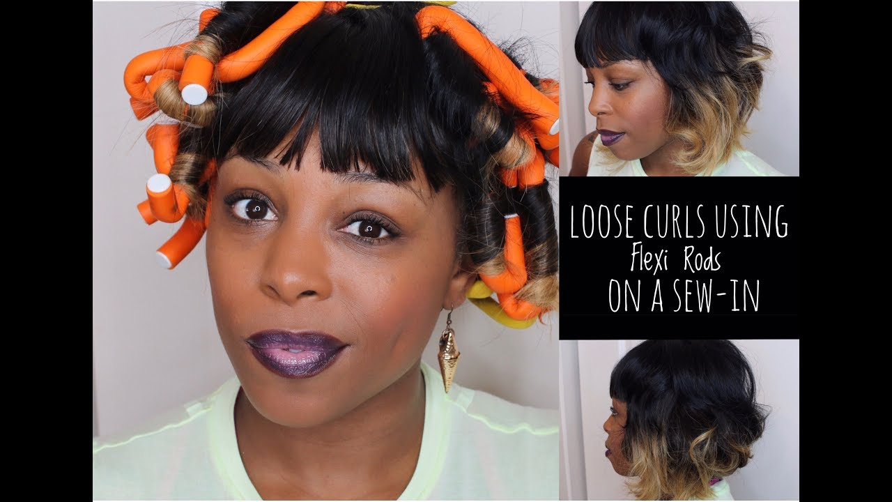 Loose Curls using Flexi Rods on a sew in | First attempt | FAIL