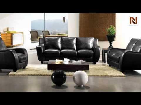 Full Leather Bremen Black Sofa Set VGBI2540-BLK