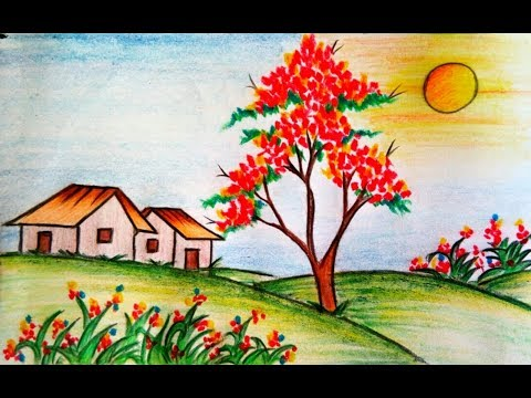 learn-how-to-draw-scenery-of-flower-garden-step-by-step-||-drawing-||