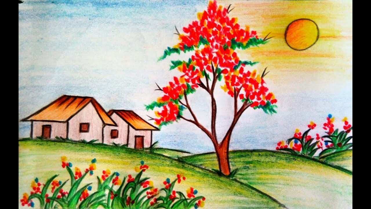 Learn How To Draw Scenery Of Flower Garden Step By Step Drawing