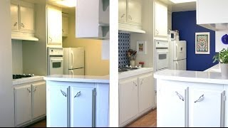 How to decorate a kitchen with temporary wallpaper and backsplash