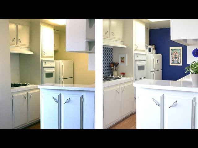 How To Decorate A Kitchen With Temporary Wallpaper And Backsplash Youtube