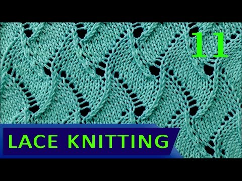 Knitting Reversible Lace Stitches : Scroll Lace Knitting Stitch #11 - Reversible - YouTube