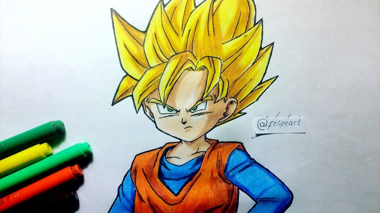 Colorear Goku Y Para Dibujos Para Colorear De Goku Ssj: Trunks Goku Y Pan Para Colorear