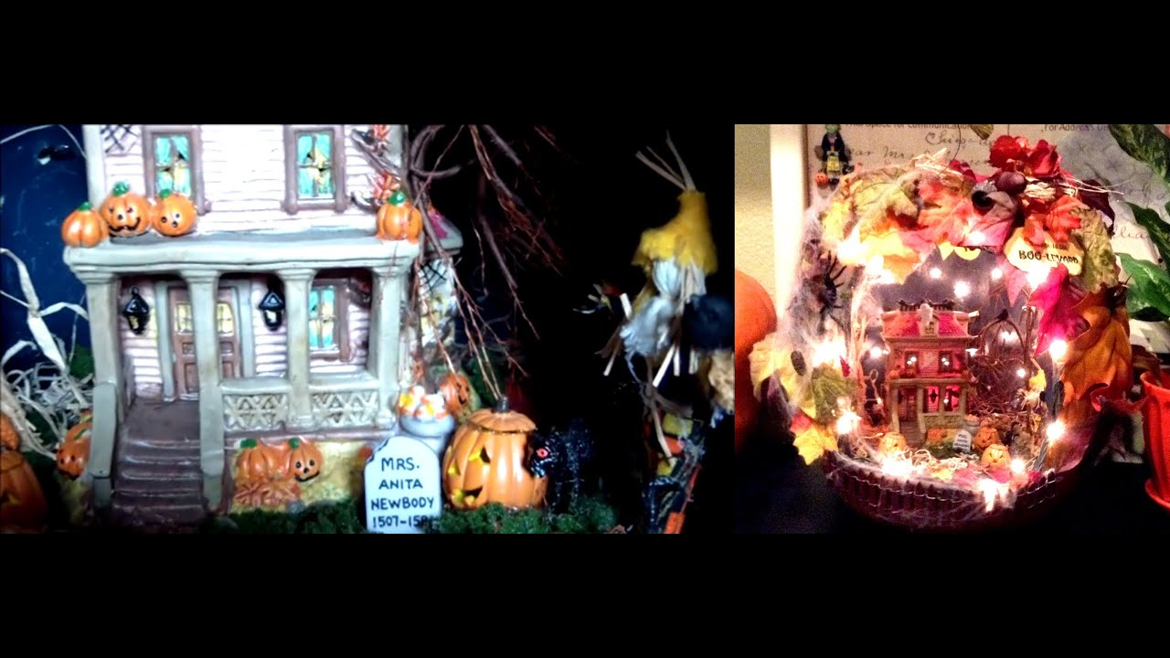 Spooky Haunted House Scene Inside A Decorated Pumpkin