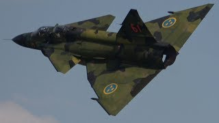 4k saab sk 37 viggen first short flight display with amazing takeoff nato days 2018