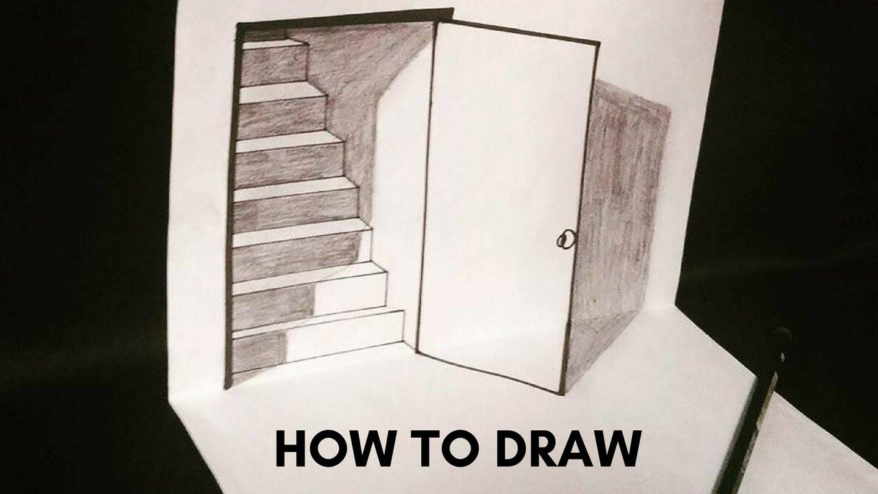 Cara Menggambar Ilusi Pintu 3D