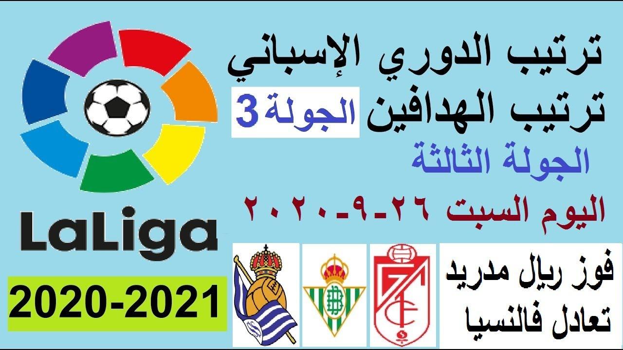 ترتيب الدوري الاسباني وترتيب الهدافين الجولة 3 اليوم السبت 26-9-2020- فوز ريال مدريد وتعادل فالنسيا