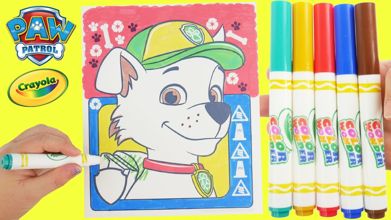 learn colors for kids and color this paw patrol rocky magic crayola crayon marker coloring page toys youtube - Magic Marker Coloring Book