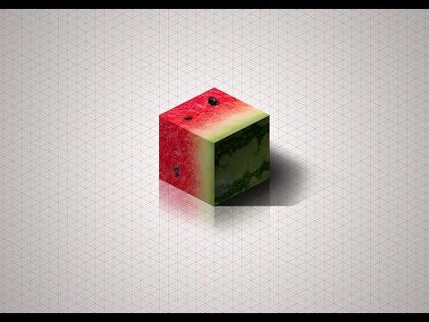 [Photoshop] Isometric Watermelon Cube Tutorial