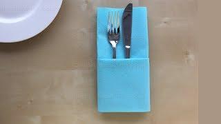Servietten falten: Einfache Bestecktasche. DIY Tischdeko z.B. Hochzeit basteln mit Papier-Servietten
