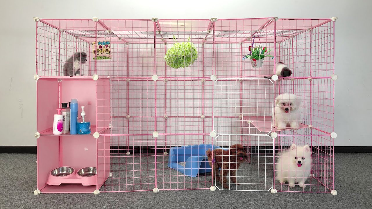 DIY Dog House For Pomeranian Puppies With Cube Grid Wire Storage | MR PET