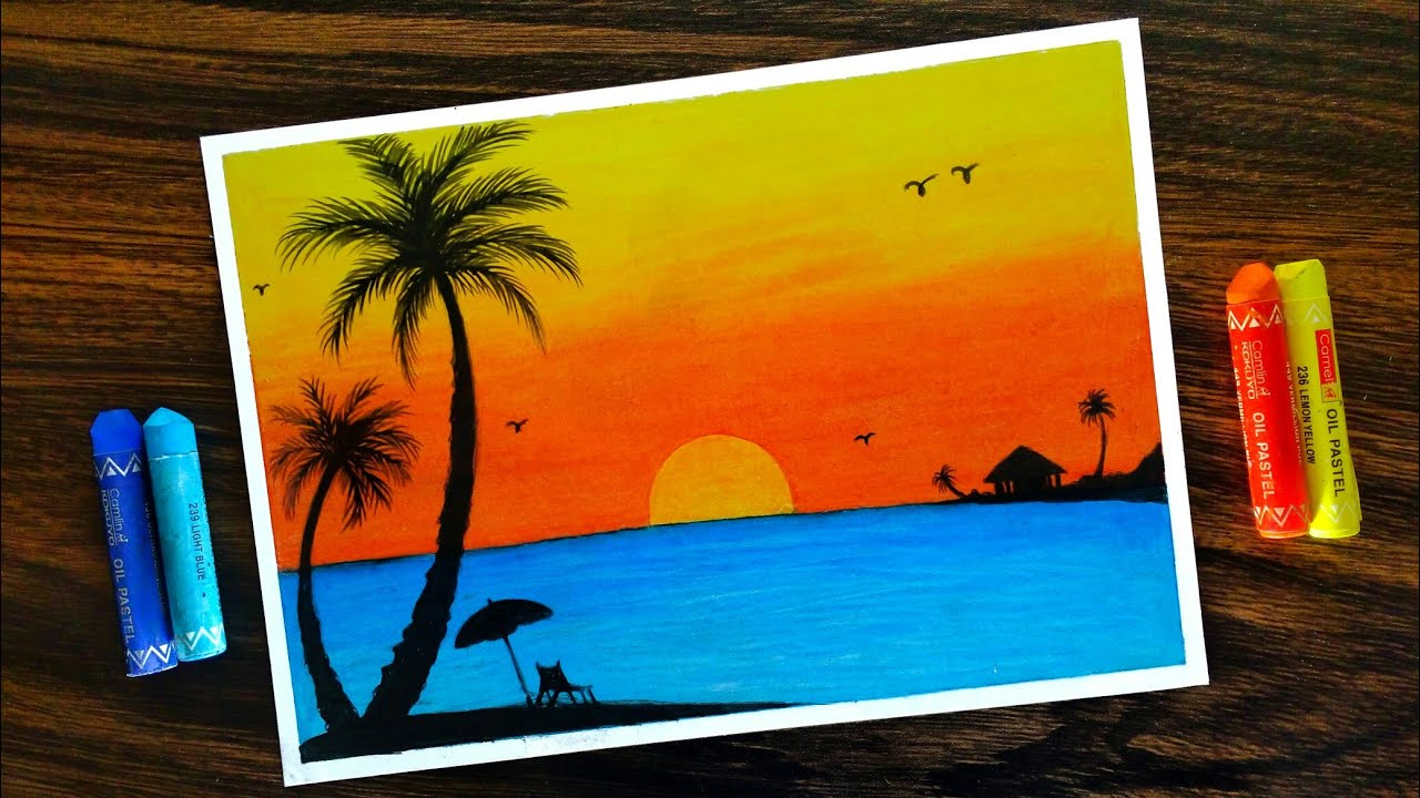 How To Draw Sunset Scenery For Beginners With Oil Pastel Step By Step Youtube