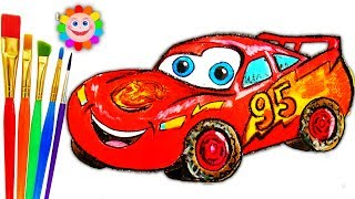 Coloring for Childrens McQueen Car | How to Draw Disney Cars | Drawing and Art Colors for Kids