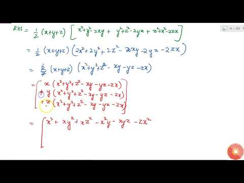 Verify that: `x^3+y^3+z^3-3x y z=1/2(x+y+z)[(x-y)^2+(y-z)^2+(z-x)^2]`