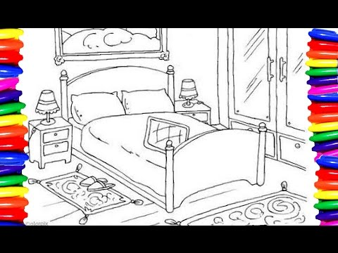 Kids Bedroom Drawing coloring pages bedroom furniture|how to draw and color easy and
