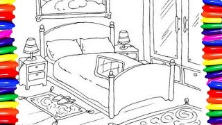 bedroom simple coloring easy draw furniture pages colors learning