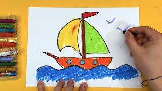 Как нарисовать КОРАБЛЬ / урок рисования для детей