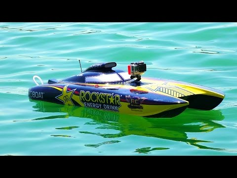 "RC ADVENTURES - Racing Dual Rockstar 48"" Gas Powered Catamaran Speed Boats"