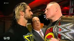 Brock Lesnar Goes Face To Face w  Seth Rollins Backstage   WWE Raw January 12 2015