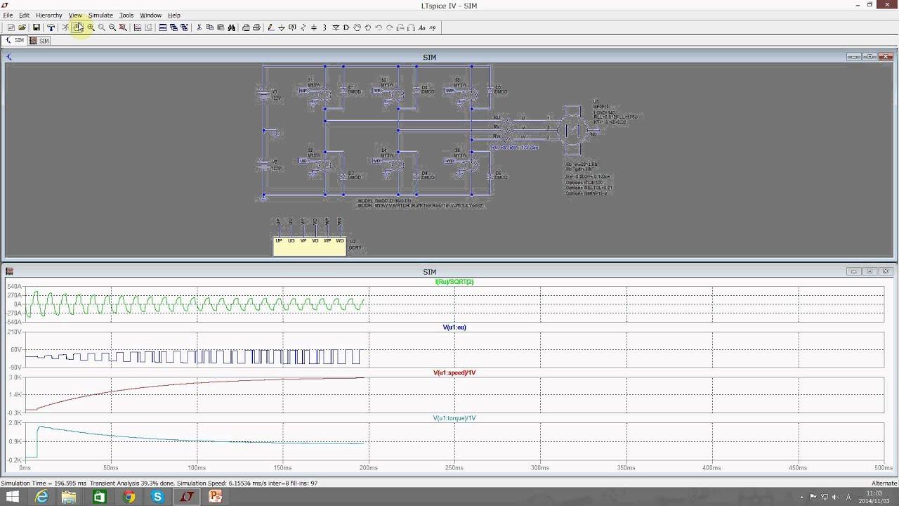 3 Phase Ac Motor Simulation Using Ltspice Youtube