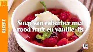 Soep van rabarber met rood fruit en vanille-ijs