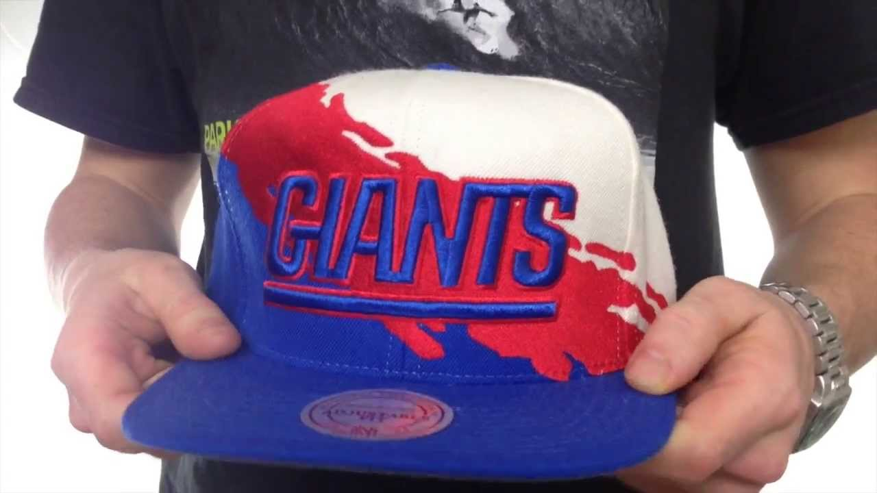 NY Giants  PAINTBRUSH SNAPBACK  White-Red-Royal Hat by Mitchell   Ness c6b8d2de6b93