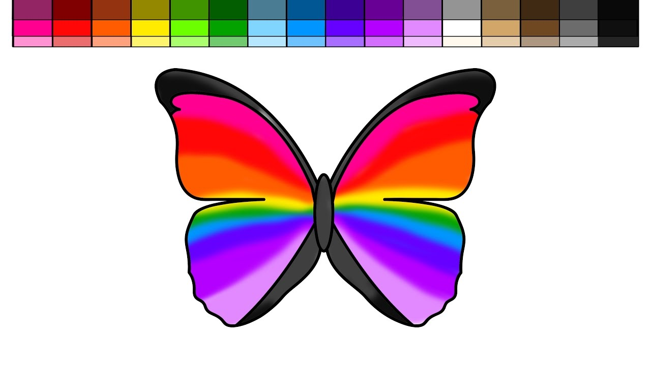 Colour in pictures of butterflies children coloring - Learn Colors For Kids And Color Rainbow Butterfly Coloring Pages