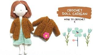코바늘 인형옷(복고풍 롱 가디건)crochet doll…
