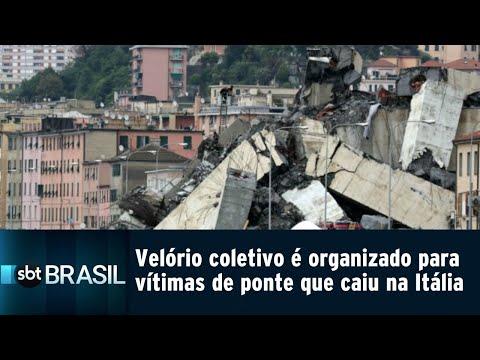 Velório coletivo é organizado para 19 vítimas de ponte que caiu na Itália | SBT Brasil (18/08/18)