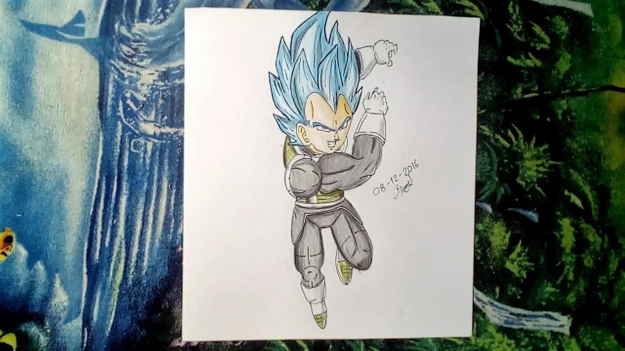 Dibujando A Vegeta Ssj Dios Azul (VS) Super Mega Arte