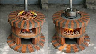 Как сделать дровяную печь 2 в 1 из красивых красных кирпичей