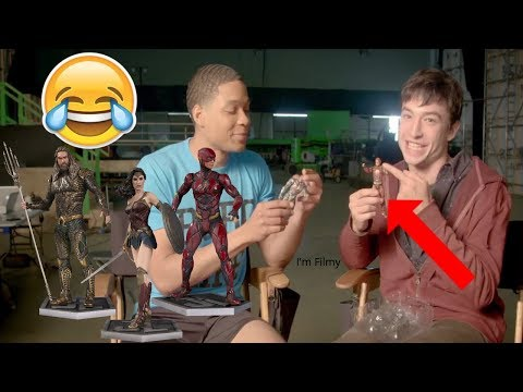 Ezra Miller & Ray Fisher Reacts to their Justice League Toys Ft. Batman, The Flash & Wonder Woman