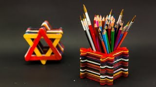 5 Creative Popsicle Stick Pen Holder Ideas
