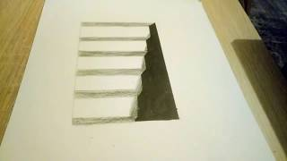 3D MERDİVEN ÇİZİMİ!! ÇOK KOLAY - Anamorphic Illusion -  3D Trick Art on paper