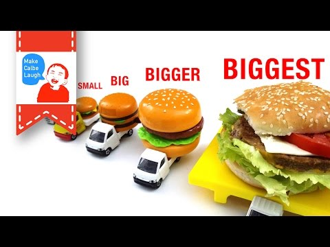 Thumbnail: Learn Sizes from Smallest to Biggest for kids with tomica hamburger car