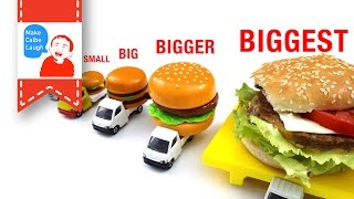 Learn Sizes from Smallest to Biggest for kids with tomica hamburger car