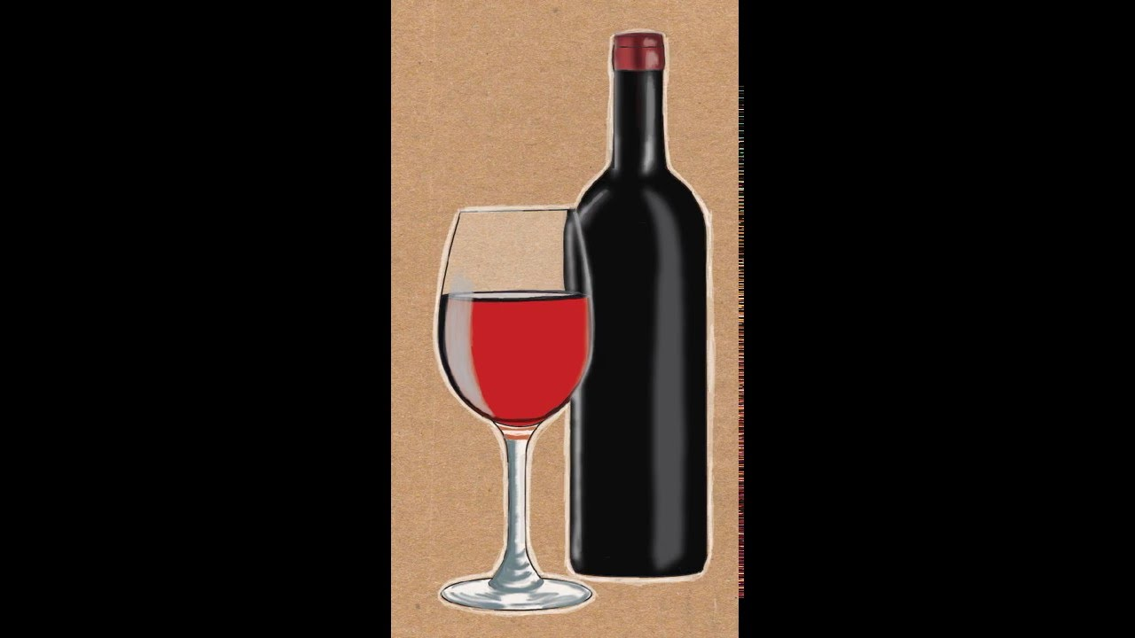 How to Draw a Wine Bottle and Wine Glass - YouTube