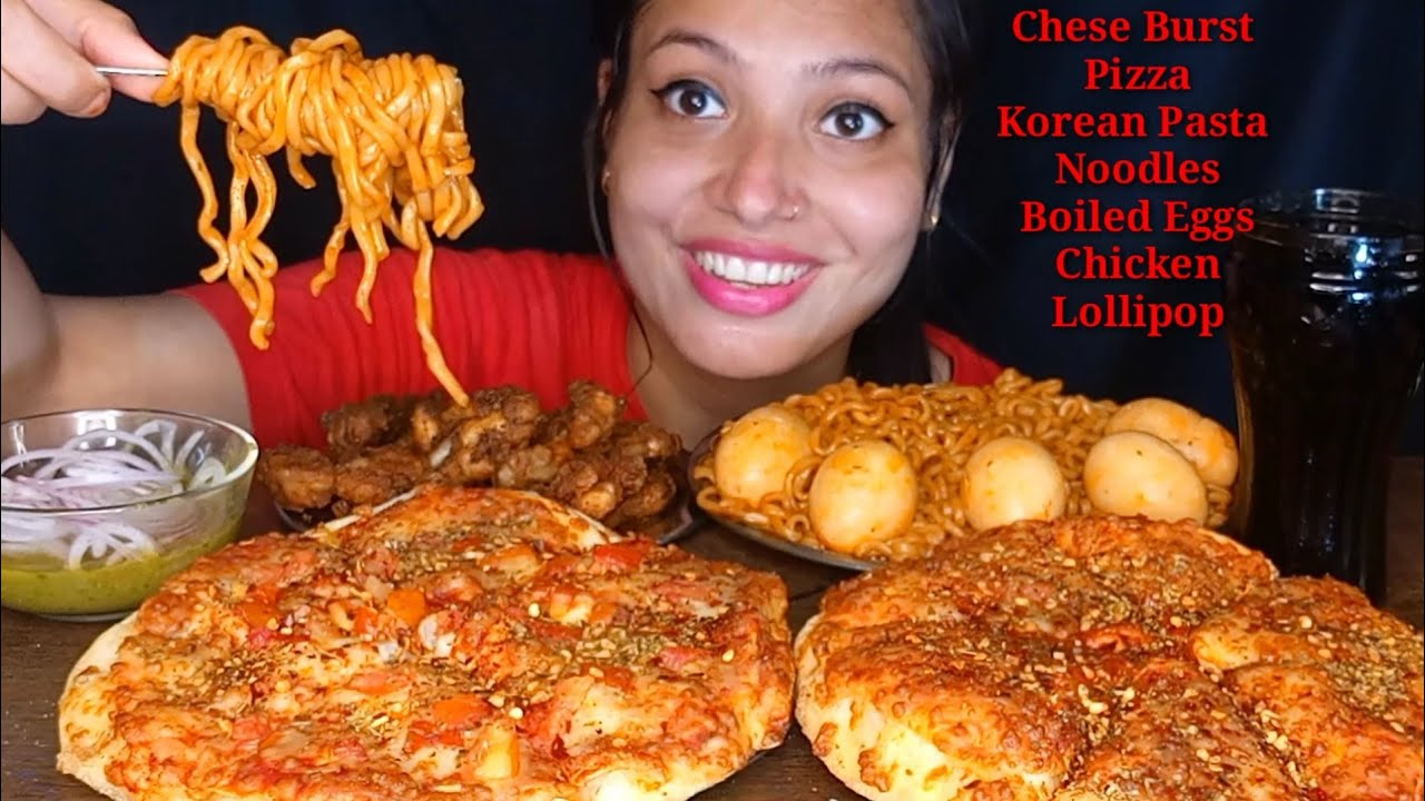 Eating 🍕Margherita Cheese Burst Pizza, Tomato Cheese Pizza, Tomato Pasta Noodles, Chicken Lolipop