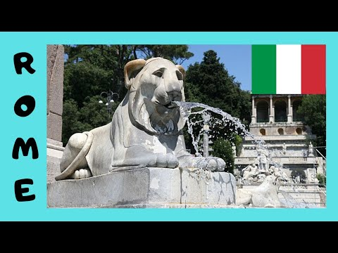 ROME, the magnificent FOUNTAINS of historic PIAZZA DEL POPOLO (ITALY)